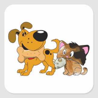 Pup and Kitty with Favorite Treat Square Sticker