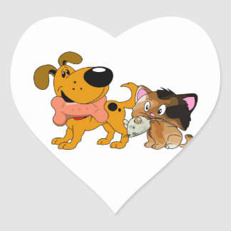 Pup and Kitty with Favorite Treat Heart Sticker