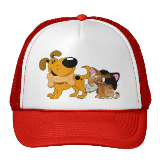 Pup and Kitty with Favorite Treat Trucker Hat