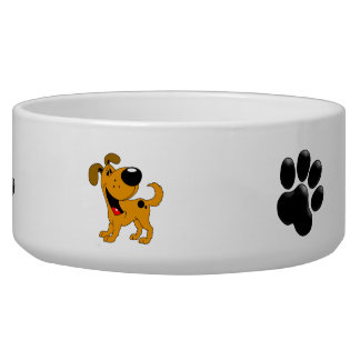 Pup and Paw Print Dog Bowl