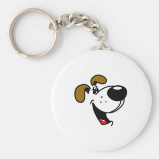 Pup Face Basic Round Button Keychain