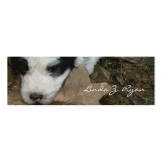 Pup on a Leaf - Old English Sheepdog puppy Business Card