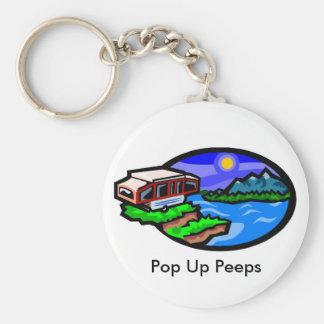 pup, Pop Up Peeps Basic Round Button Keychain