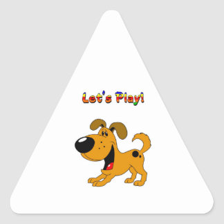 Pup s Invitation to Play Triangle Sticker