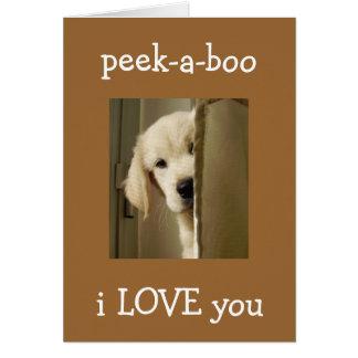 "PUP SAYS ""PEEK-A-BOO"" ANNIVERSARY LOVE CARD"