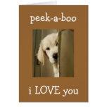 "PUP SAYS ""PEEK-A-BOO"" ANNIVERSARY LOVE GREETING CARD"
