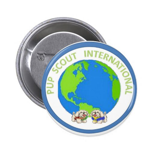 PUP SCOUT INTERNATIONAL 2 INCH ROUND BUTTON
