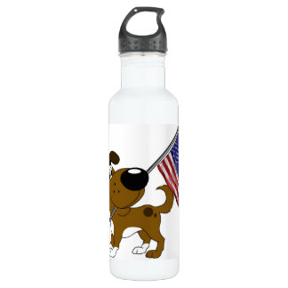 Pup with Flag 24oz Water Bottle