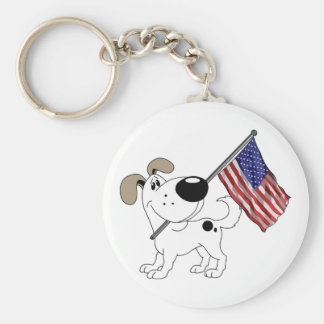 Pup with Flag Basic Round Button Keychain