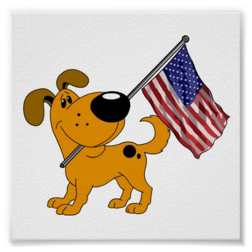 Pup with Flag Print