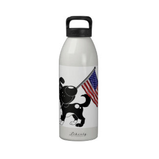 Pup with Flag Reusable Water Bottles