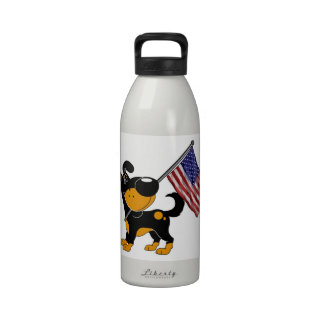Pup with Flag Water Bottles