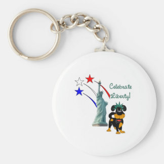 Pup with Lady Liberty and Fireworks Basic Round Button Keychain