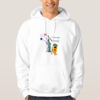 Pup with Lady Liberty and Fireworks Hoodie