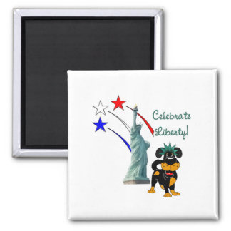 Pup with Lady Liberty and Fireworks Magnet