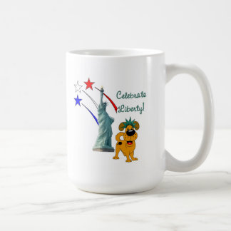 Pup with Lady Liberty and Fireworks Classic White Coffee Mug
