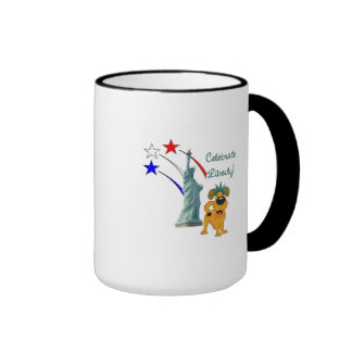 Pup with Lady Liberty and Fireworks Ringer Coffee Mug