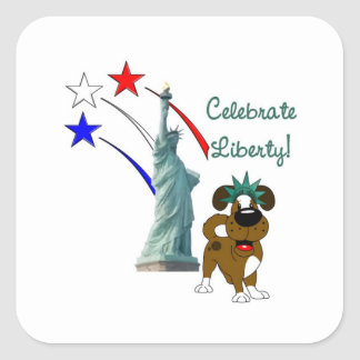 Pup with Lady Liberty and Fireworks Square Sticker