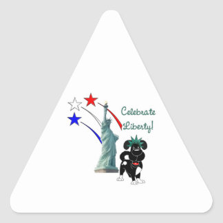 Pup with Lady Liberty and Fireworks Triangle Sticker