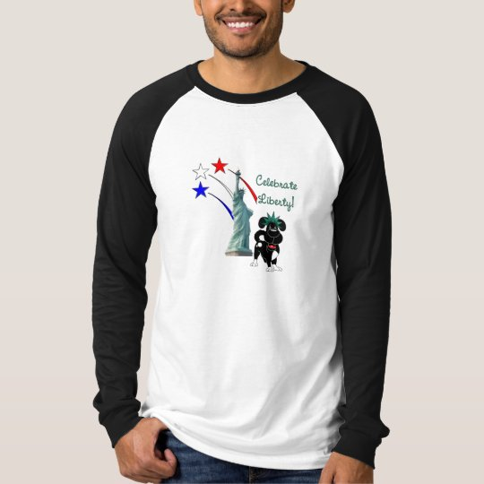 Pup with Lady Liberty and Fireworks T-Shirt