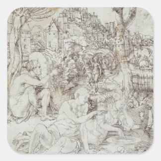 Pupila Augusta Drawing by Albrecht Durer Square Sticker