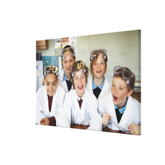 Pupils (9-12) in science class, smiling, canvas prints