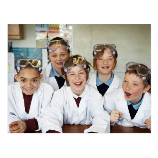 Pupils (9-12) in science class, smiling, postcard