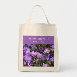 puple azalea flowering bush tote bag