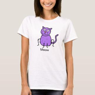 Puple Cat  Primative Design Cute T-shirt