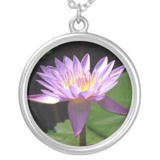 Puple Water Lilly Round Pendant Necklace