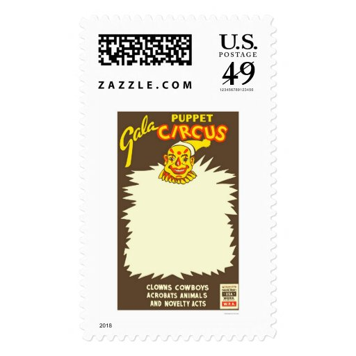 Puppet Cowboy Circus 1938 WPA Postage Stamps