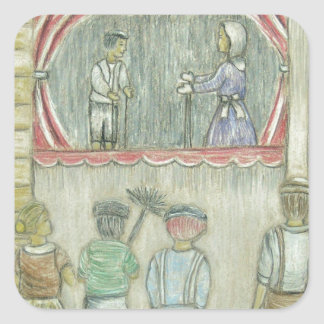 puppet show square sticker