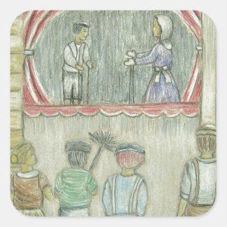 puppet show square sticker