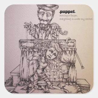 puppet square sticker