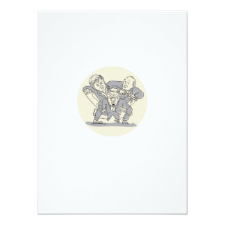 Puppeteers Fighting Over Puppet Oval Cartoon Card