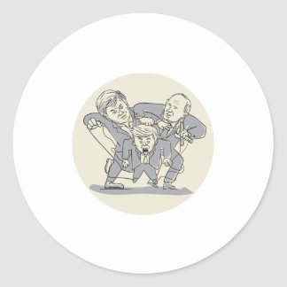 Puppeteers Fighting Over Puppet Oval Cartoon Classic Round Sticker