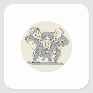 Puppeteers Fighting Over Puppet Oval Cartoon Square Sticker