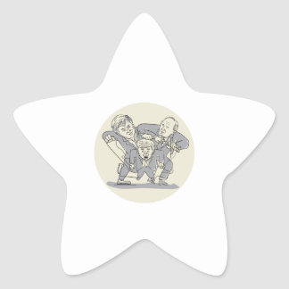 Puppeteers Fighting Over Puppet Oval Cartoon Star Sticker