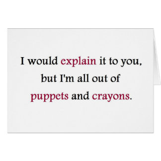 PUPPETS AND CRAYONS GREETING CARD