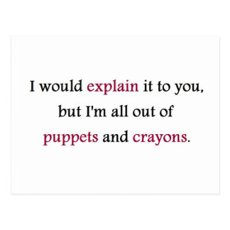 PUPPETS AND CRAYONS POSTCARD