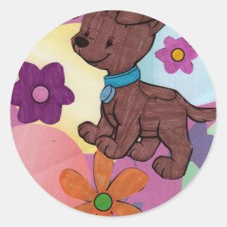 puppie dog classic round sticker