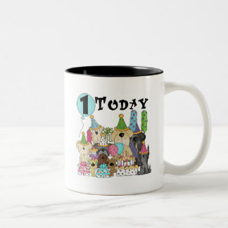 Puppies 1st Birthday Bash Tshirts and Gifts Two-Tone Coffee Mug