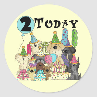Puppies 2nd Birthday Bash Tshirts and Gifts Round Stickers