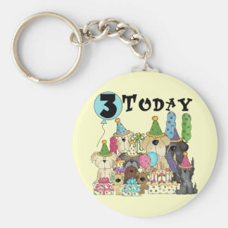 Puppies 3rd Birthday Bash Tshirts and Gifts Keychain