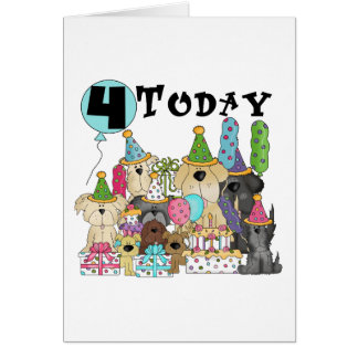 Puppies 4th Birthday Bash Tshirts and Gifts Greeting Card