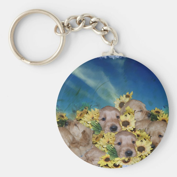PUPPIES AND FLOWERS (GOLDEN RETRIEVERS) KEYCHAIN