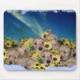 PUPPIES AND FLOWERS (GOLDEN RETRIEVERS) MOUSE PAD