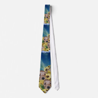 PUPPIES AND FLOWERS (GOLDEN RETRIEVERS) TIE