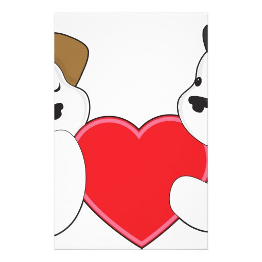 Puppies and Heart Stationery