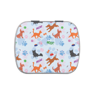 Puppies and kittens candy tins